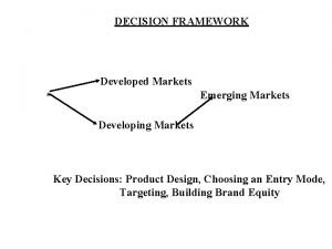 DECISION FRAMEWORK Developed Markets Emerging Markets Developing Markets