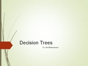 Decision Trees Dr Anil Maheshwari Introduction Decision trees