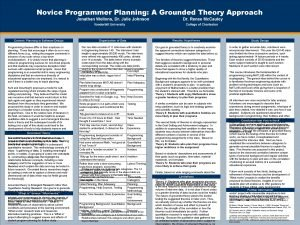 Novice Programmer Planning A Grounded Theory Approach Jonathan