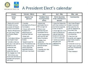 A President Elects calendar January February March April