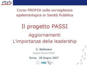 Corso PROFEA sulla sorveglianza epidemiologica in Sanit Pubblica