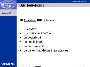 Automation and Drives Sus beneficios instabus EIB El