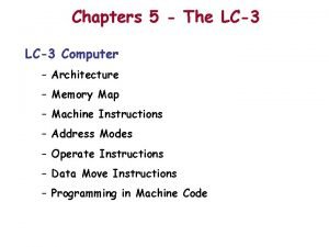 Chapters 5 The LC3 Computer Architecture Memory Map