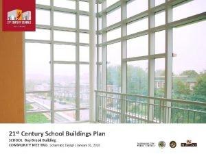 21 st Century School Buildings Plan SCHOOL Bay