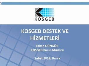 KOSGEB DESTEK VE HZMETLER Erkan GNGR KOSGEB Bursa