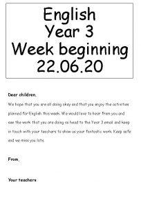 English Year 3 Week beginning 22 06 20