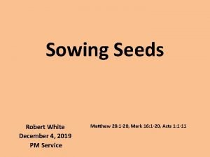 Sowing Seeds Robert White December 4 2019 PM