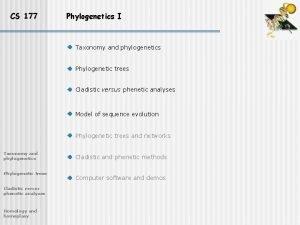 CS 177 Phylogenetics I Taxonomy and phylogenetics Phylogenetic