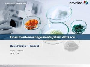 Dokumentenmanagementsystem Alfresco Basistraining Handout Nicole Schimmel 15 04