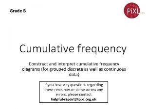 Grade B Cumulative frequency Construct and interpret cumulative