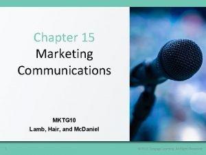 Chapter 15 Marketing Communications MKTG 10 Lamb Hair