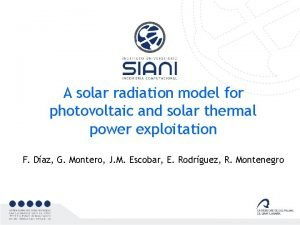A solar radiation model for photovoltaic and solar