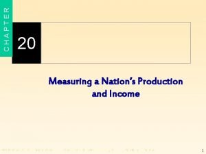 CHAPTER 20 Measuring a Nations Production and Income