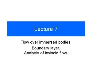 Lecture 7 Flow over immersed bodies Boundary layer