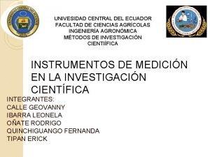 UNIVESIDAD CENTRAL DEL ECUADOR FACULTAD DE CIENCIAS AGRCOLAS
