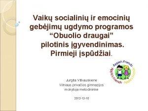 Vaik socialini ir emocini gebjim ugdymo programos Obuolio