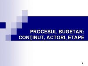 PROCESUL BUGETAR CONINUT ACTORI ETAPE 1 Competene i