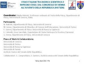 I FISICI ITALIANI TRA RICERCA SCIENTIFICA E IMPEGNO