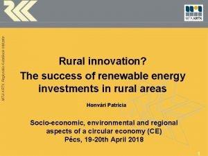 MTA KRTK Regionlis Kutatsok Intzete Rural innovation The