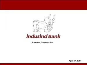 Investor Presentation April 19 2017 Presentation content Planning