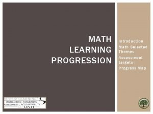 MATH LEARNING PROGRESSION Introduction Math Selected Themes Assessment