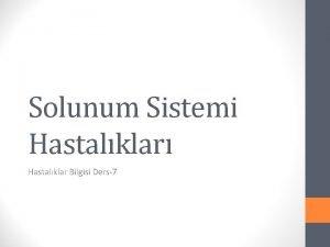 Solunum Sistemi Hastalklar Hastalklar Bilgisi Ders7 Solunum fizyolojik