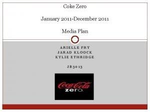 Coke Zero January 2011 December 2011 Media Plan