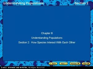 Understanding Populations Section 2 Chapter 8 Understanding Populations