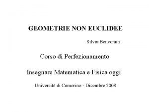 GEOMETRIE NON EUCLIDEE Silvia Benvenuti Corso di Perfezionamento