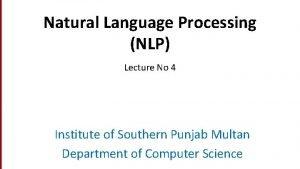 Dan Jurafsky Natural Language Processing NLP Lecture No