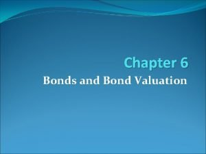 Chapter 6 Bonds and Bond Valuation LEARNING OBJECTIVES