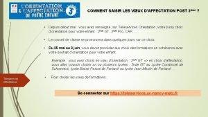 COMMENT SAISIR LES VUX DAFFECTATION POST 3me Depuis