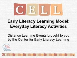 Early Literacy Learning Model Everyday Literacy Activities Distance