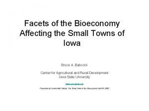 Facets of the Bioeconomy Affecting the Small Towns