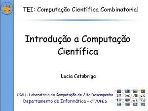 TEI Computao Cientfica Combinatorial Introduo a Computao Cientfica