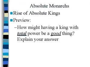 Absolute Monarchs n Rise of Absolute Kings n