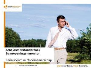 Arbeidsmarktonderzoek Baanopeningenmonitor Kenniscentrum Ondernemerschap 1 Presentatie NMT leden