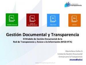 Gestin Documental y Transparencia El Modelo de Gestin