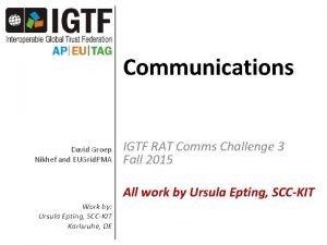 Communications David Groep Nikhef and EUGrid PMA IGTF