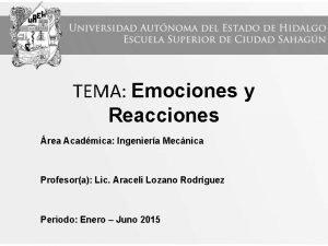 TEMA Emociones y Reacciones rea Acadmica Ingeniera Mecnica