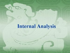 Internal Analysis Introduction Strategic analysis of any Business