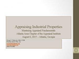 Appraising Industrial Properties Mastering Appraisal Fundamentals Atlanta Area