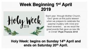 Week Beginning 2019 st 1 April Each year