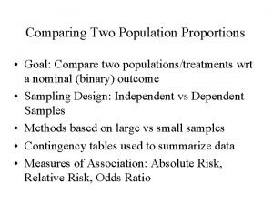 Comparing Two Population Proportions Goal Compare two populationstreatments