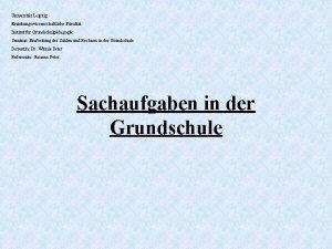 Universitt Leipzig Erziehungswissenschaftliche Fakultt Institut fr Grundschulpdagogik Seminar