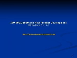 ISO 9001 2000 and New Product Development ISO