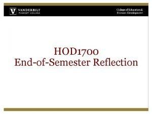 HOD 1700 EndofSemester Reflection HOD 1700 Course Objectives