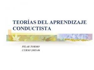 TEORAS DEL APRENDIZAJE CONDUCTISTA PILAR TORMO CURSO 2005