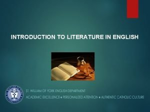 INTRODUCTION TO LITERATURE IN ENGLISH INTRODUCTION TO LITERATURE
