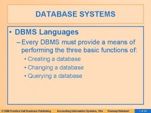 DATABASE SYSTEMS DBMS Languages Every DBMS must provide